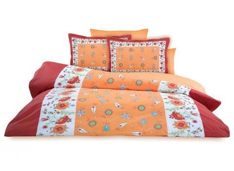 Σεντόνια cotton 100% Sunshine κόκκινο με σχέδιο παπαρούνες