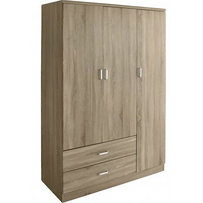 Τρίφυλλη ντουλάπα με δύο συρτάρια σε χρώμα φυσικό MDF-3/ΝΑΤ 120 x 55 x 190εκ. | Mymegamarket.gr