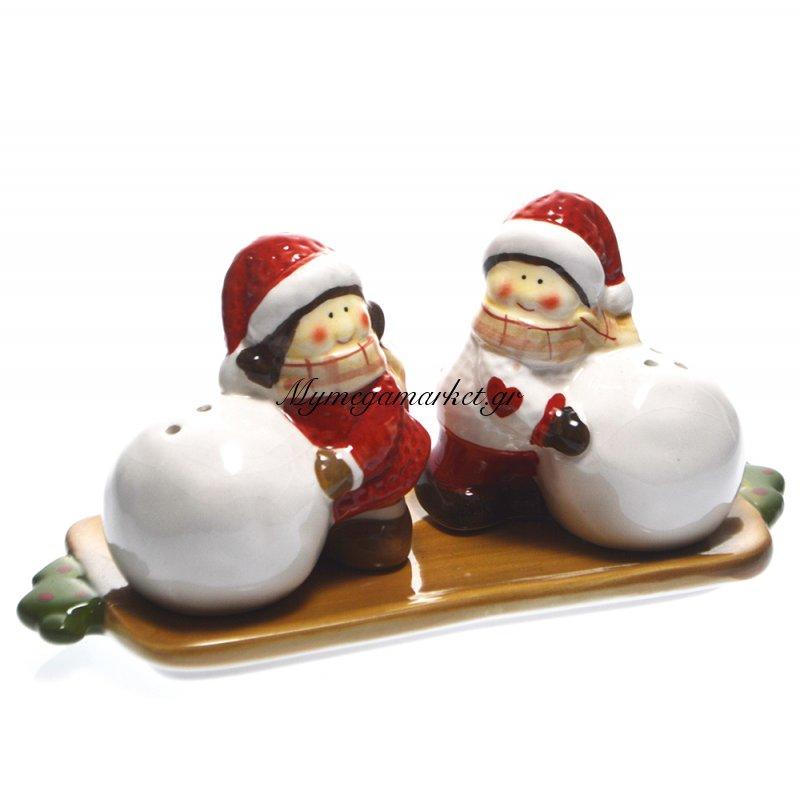 Σέτ αλατοπίπερο με φιγούρες χριστουγεννιάτικο + πιάτο