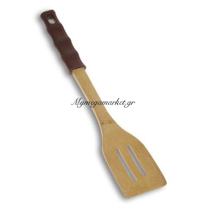 Σπάτουλα τρυπητή ξύλινη με χερούλι σιλικόνης bamboo - Nava