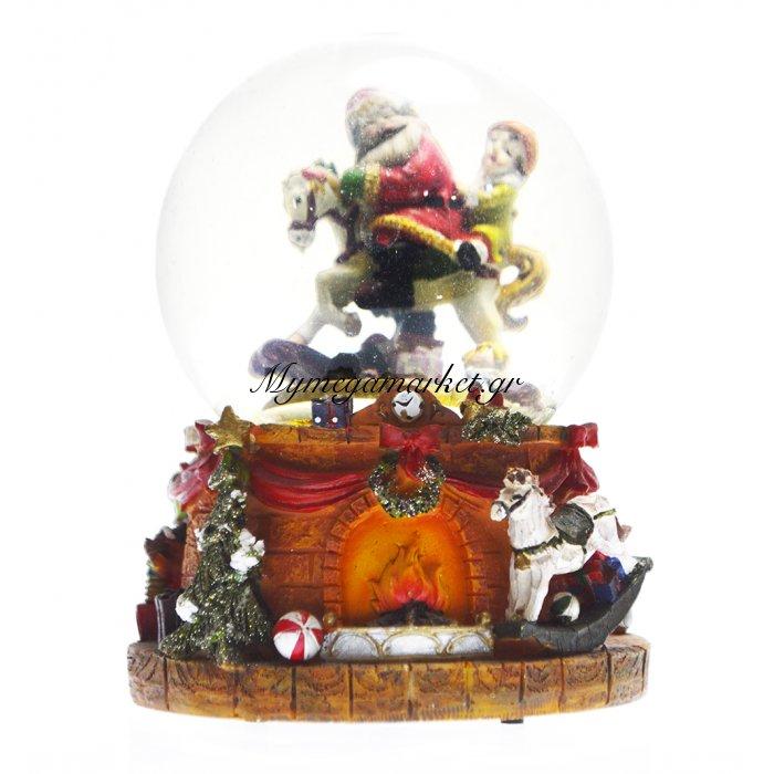 Χιονόμπαλα χριστουγεννιάτικη – Άγιο Βασίλη σε άλογο 10 cm | Mymegamarket.gr