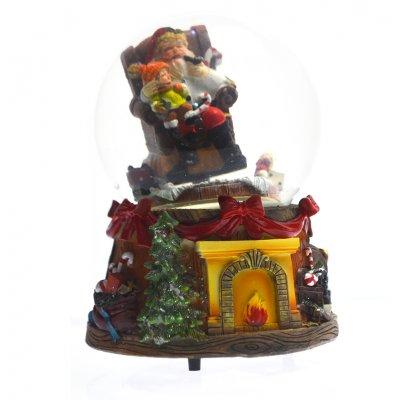 Χιονόμπαλα χριστουγεννιάτικη – Άγιο Βασίλη σε πολυθρόνα 10 cm