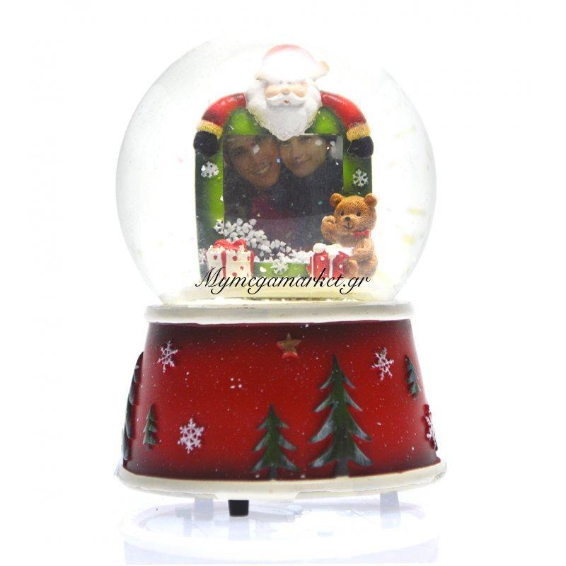 Χιονόμπαλα χριστουγεννιάτικη με κορνίζα σχέδιο αρκουδάκι 10 cm