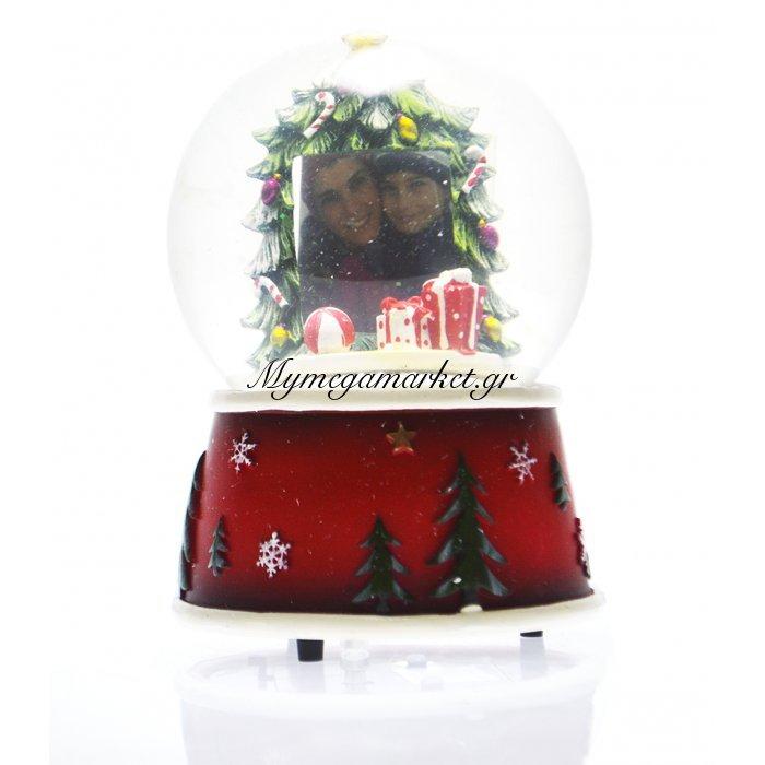 Χιονόμπαλα χριστουγεννιάτικη με κορνίζα σχέδιο δέντρο 10 cm | Mymegamarket.gr