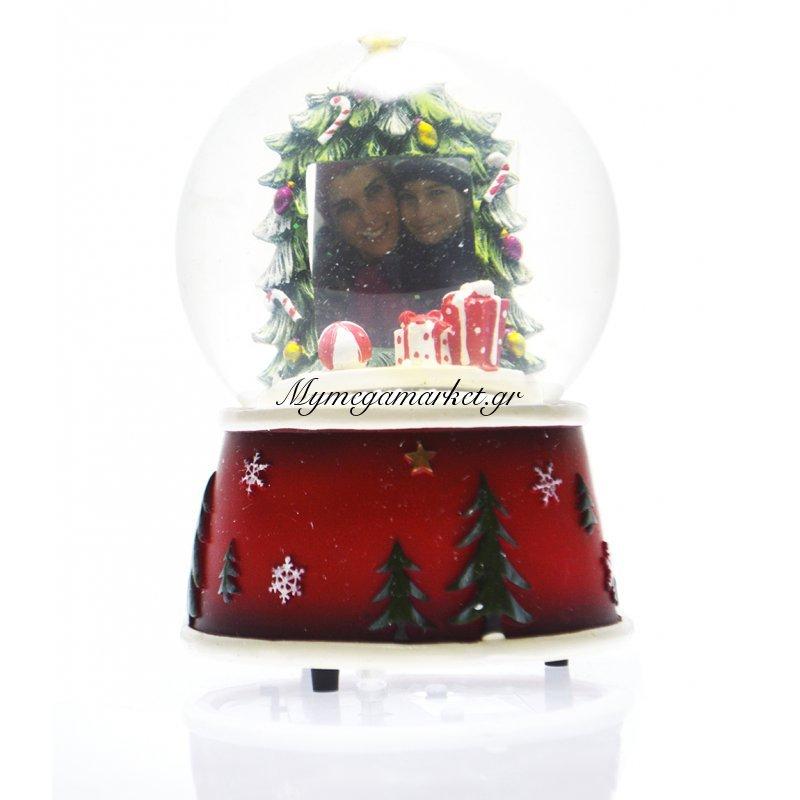 Χιονόμπαλα χριστουγεννιάτικη με κορνίζα σχέδιο δέντρο 10 cm