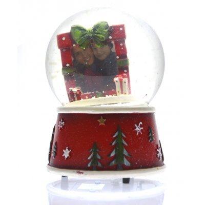Χιονόμπαλα χριστουγεννιάτικη με κορνίζα σχέδιο φιόγκο 10 cm