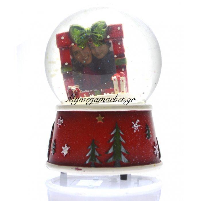 Χιονόμπαλα χριστουγεννιάτικη με κορνίζα σχέδιο φιόγκο 10 cm | Mymegamarket.gr