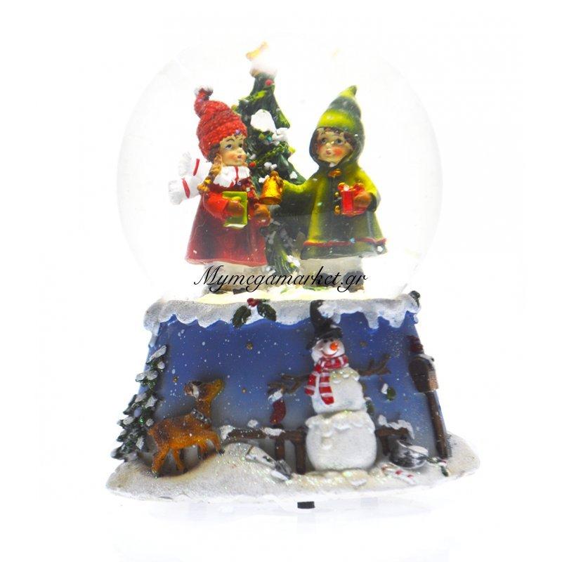 Χιονόμπαλα χριστουγεννιάτικη με παιδιά με δέντρο 10 cm