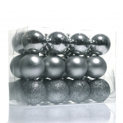 Σέτ μπάλες χριστουγεννιάτικες ασημί 40 mm - 24 τεμαχίων