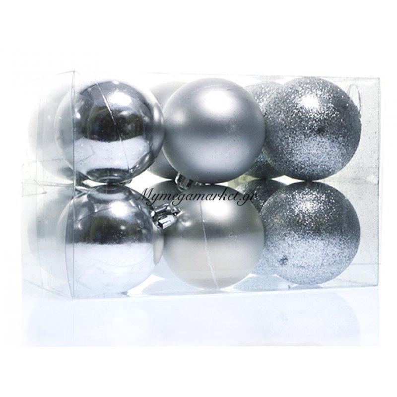 Σέτ μπάλες χριστουγεννιάτικες ασημί 60 mm - 12 τεμαχίων