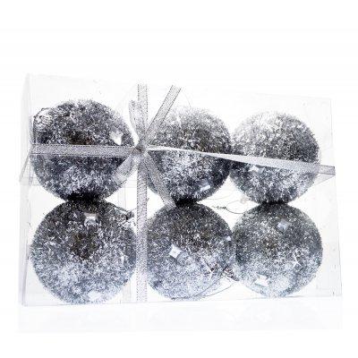 Σέτ μπάλες χριστουγεννιάτικες ασημί με ρόμβο 80 mm - 6 τμχ.