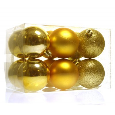 Σέτ μπάλες χριστουγεννιάτικες χρυσές 60 mm - 12 τεμαχίων