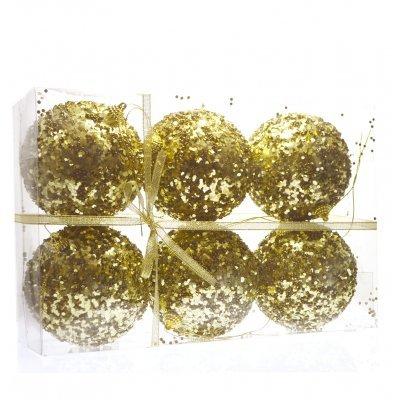 Σέτ μπάλες χριστουγεννιάτικες χρυσές με στράς 100 mm - 6 τμχ.