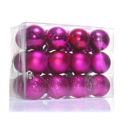 Σέτ μπάλες χριστουγεννιάτικες φούξια 40 mm - 24 τεμαχίων