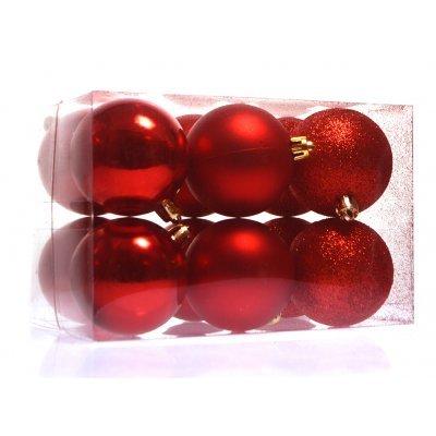 Σέτ μπάλες χριστουγεννιάτικες κόκκινες 80 mm - 12 τεμαχίων