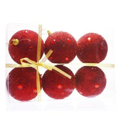 Σέτ μπάλες χριστουγεννιάτικες κόκκινες 90 mm - 6 τμχ.