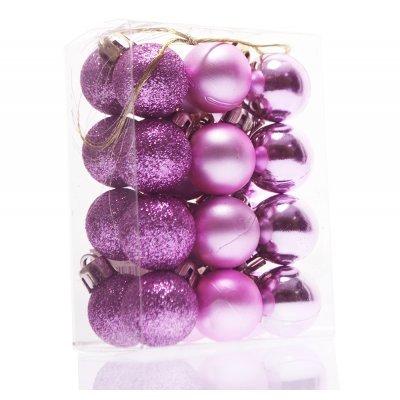 Σέτ μπάλες χριστουγεννιάτικες ρόζ 25mm - 24 τεμαχίων